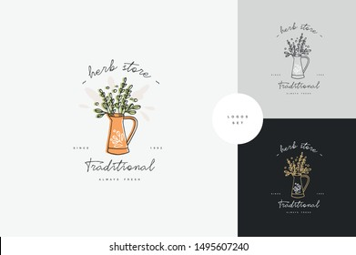 Vector hand drawing logo or badge and icon for gardening or flowers shop. Collection symbol of watering can with green branches