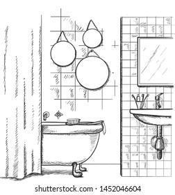 Vector hand drawing modern interior sketch. Bathroom interior.