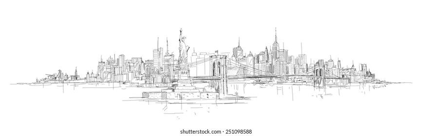 vector hand drawing new york city panorama