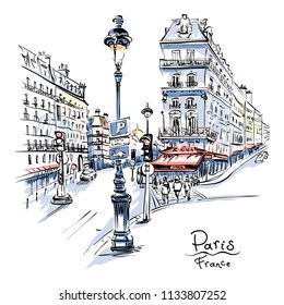 Vector hand drawing. Paris street with traditional houses and lanterns, Paris, France.