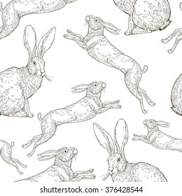 Vector hand drawing the pattern with rabbits silhouette in vintage style. Botanical Illustration. Illustration for greeting cards, invitations, and other printing projects.