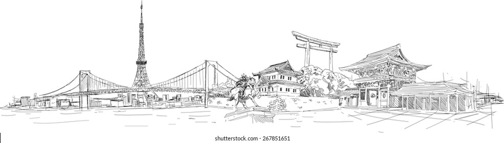 vector hand drawing pencil sketch tokyo panoramic view