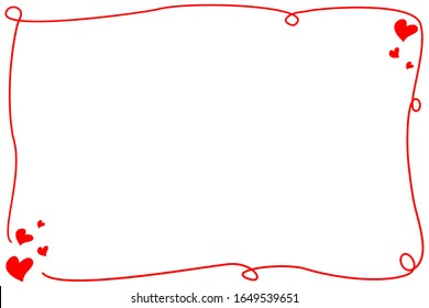 Vector - Hand drawing red border with set mini red hearts isolated on white background. Doodle. Cute frame. Copy space for any text design.