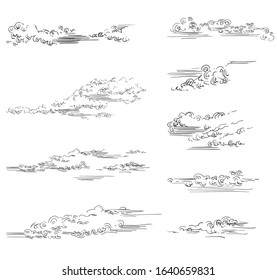 Vector hand drawing set of clouds different shapes in black color isolated on white background. Monochrome vintage clouds. Vector illustration of clouds. Image for design, cards.