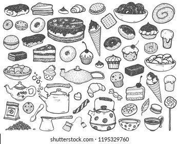 Vector hand drawing set of sweets, Cupcake, cake, ice cream, tea, coffee, candy, sandwich. Doodle design illustration