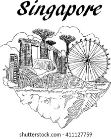 vector hand drawing SINGAPORE city sketch