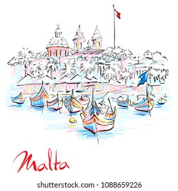 Vector hand drawing of traditional eyed colorful boats Luzzu and church in the Harbor of Mediterranean fishing village Marsaxlokk, Malta