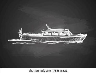 Vector hand drawing of vintage boat on chalkboard.