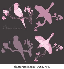 Vector hand drawing vintage little birds in chinoiserie style for wallpaper, wedding , textile and scrapbooking design