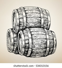 Vector hand drawing wood barrel in white background