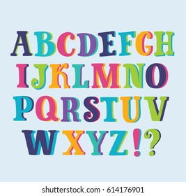 Vector hand drawn abc multicolored cute serif capital latin shiny alphabet on white background