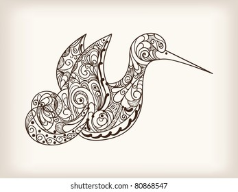 vector hand drawn abstract bird with unique pattern, gradient mesh