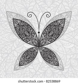 vector hand drawn abstract butterfly on floral background