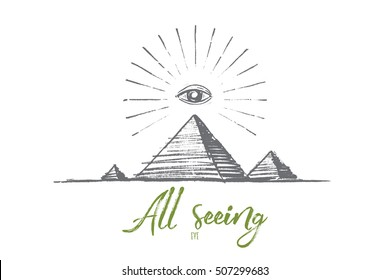 Vector hand drawn all seeing eye concept sketch. All seeing eye or eye of providence pyramid symbol. Lettering All seeing eye