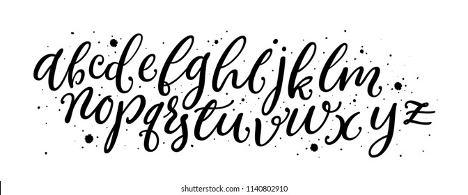 Vector hand drawn alphabe isolated on white background. Lettering and custom typography for your designs: logo, for posters, invitations, cards, etc. Vector illustration.