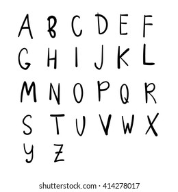 Vector hand drawn alphabet. Brush painted letters, uppercase.