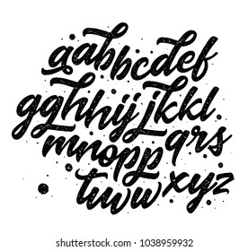Vector hand drawn alphabet isolated on white background. Hand lettering for your designs: logo, for posters, invitations, cards, etc. Typography vector.