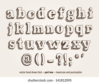 Vector hand drawn alphabet, lowercase and punctuation