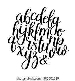 Vector Hand Drawn Alphabet. Modern Calligraphy. Brush Painted Letters.