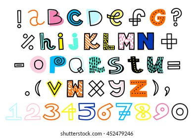 Vector hand drawn alphabet and numbers. Funky colors