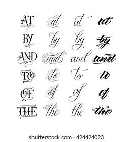 Vector hand drawn ampersands and catchwords. The, of, and, by, at. Hand lettering with decorative design elements isolated on white background