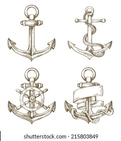vector hand drawn anchor icon set on background