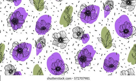 Vector hand drawn anemone seamless pattern