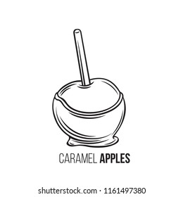 Vector hand drawn apples in caramel or toffee. Halloween sweets for street food cafe. Retro style.