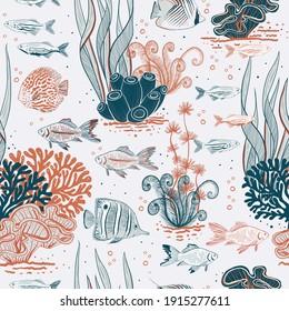 Vector hand drawn aquarium life seamless pattern print background.
