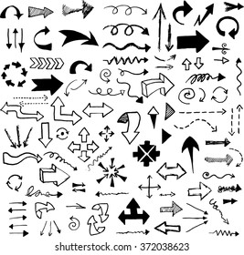 Vector hand drawn arrows set isolated on white.