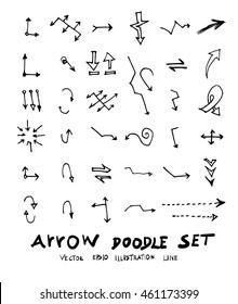 Vector hand drawn arrows set