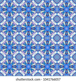 Vector hand drawn art, typical portuguese tiles. Traditional ornate portuguese decorative tiles azulejos. Ceramic tiles pattern. Beige, purple and blue mandalas. Seamless abstract background.