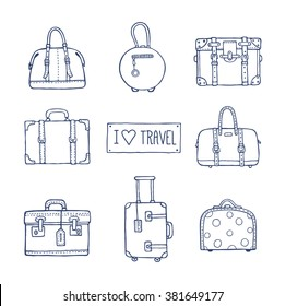 Vector hand drawn artistic sketch illustration of vintage suitcases and bags with text I love travel. Retro style, doodles.