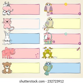 Vector hand drawn baby banners with animals