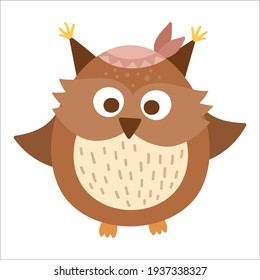 Vector hand drawn baby owl with band on the head. Cute bohemian style little woodland bird icon isolated on white background. Sweet boho forest illustration for card, print, stationery design.