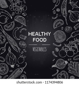 Vector hand drawn background with vegetables - tomato, pepper, onion. Healthy vegan food sketch illustration in chalkboard style. Design for shop, book, menu, poster, banner.