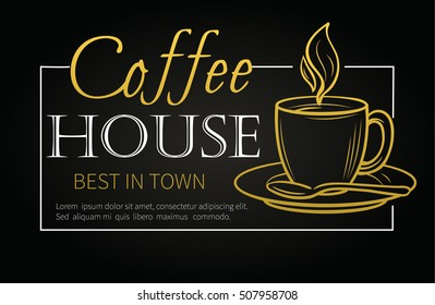 Vector hand drawn banner with coffee cup.