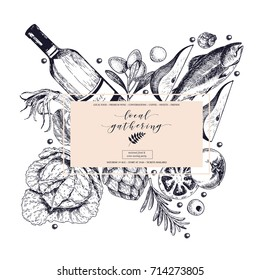 Vector hand drawn banner. Local gatherings. Frame composition. Wine seafood cheese chicken meet vegetables cabbage pear tomato rosemary Engraved art Sketched objects restaurant menu party