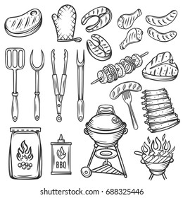 Vector Hand drawn barbecue icons set. Tongs, sausage, fish, grill and meat. Vintage sketch illustration.