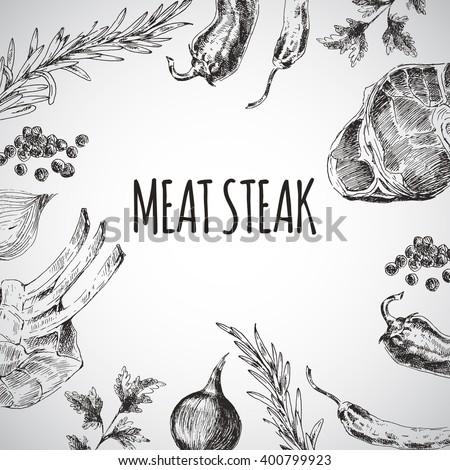 vector hand drawn barbecue restaurant menu stock vector royalty