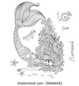 Vector hand drawn beautiful mermaid lying on the seabed. Mermaid with long wavy hair sleeps on the bottom of the sea with a beautiful scaly tail, with the fish and starfish. On a white background