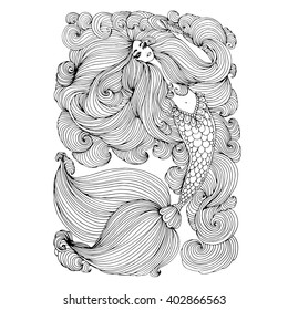 Vector hand drawn beautiful sea mermaid holding a shell. Mermaid with long hair curls intertwined, patterned scaly tail with long fins. Coloring page. On a white background