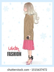 Vector hand drawn beautiful young woman. Autumn winter season. Vector illustration.