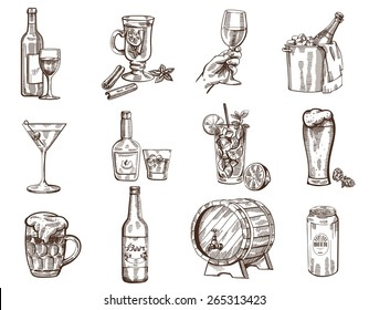 Vector hand drawn beverages collection on white background