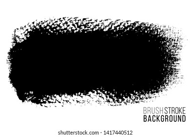 Vector hand drawn big brush stain. Monochrome ink painted stroke. Painted by brush black stain. Monochrome artistic backdrop. One color grungy background.