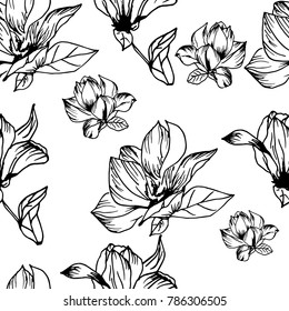 Vector hand drawn big magnolia flower pattern seamless background, fabric, textile