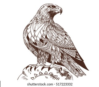 Vector hand drawn bird of prey. Illustration in bohemian style.
