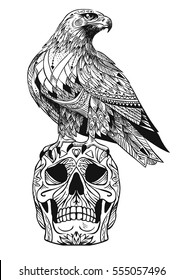 Vector hand drawn bird of prey sitting on human skull. Illustration in bohemian style.