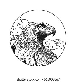 Vector hand drawn bird of prey head. Illustration in bohemian style.