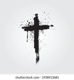 Vector hand drawn black paint brush grunge cross icon